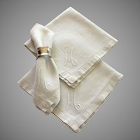 Vintage white cotton monogrammed napkins, set of 6