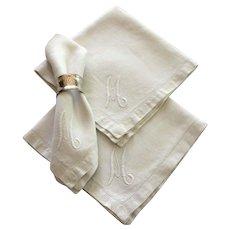 Vintage white cotton monogrammed napkins, set of 6
