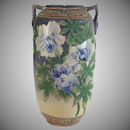 Japanese Moriage Satsuma  Ceramic Vase with Blue Roses