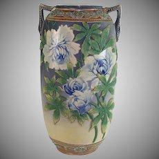 Japanese Moriage Satsuma  Ceramic Vase with Blue Roses