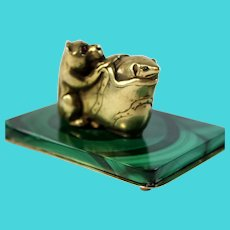 Sterling Silver Paperweight Dog Mouse and Shoe on Malachite base Jeweled Eyes