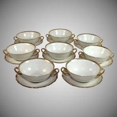 Royal York Bavaria Porcelain Bouillon Cups/Saucers Set of 8