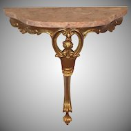 Pair of Demi-lune Rose Marble Top Consoles
