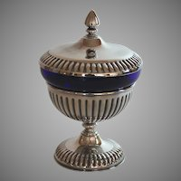 Vintage Silverplate Chalice Cup Urn with cobalt Glass Insert