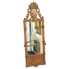 Gilt-wood Louis XVI Style Mirror with Ceramic Cartouche
