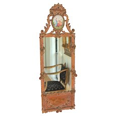 Gilt-wood Louis XVI Style Mirror with Ceramic Cartouche B