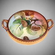 Nippon Hand Painted Blow-out Moriage Porcelain Bowl Raised Relief ca 1911