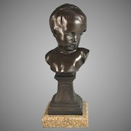 French Bust of Young Child on Granite Base