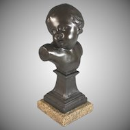 French Bust of Young Child on Granite Base B