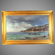 Painting of the Italian Coast by listed artist Ludwig Neubert (1846-1892)