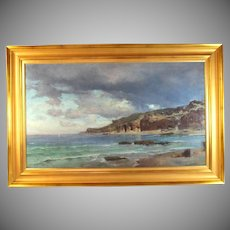 19c Seascape  Painting by listed artist Ludwig Neubert (1846-1892)