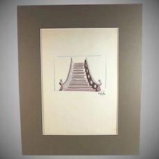 Original mixed media painting by Raoul Pene  Du Bois: Set Design
