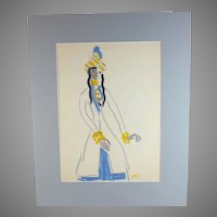 Original mixed media painting by Raoul Pene  Du Bois: Figure with Turban