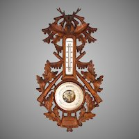 Black Forest Barometer with Deer Head, Hunting Hunt early 20th Century