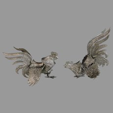 Vintage Silver Plate Pair of Fighting Cocks