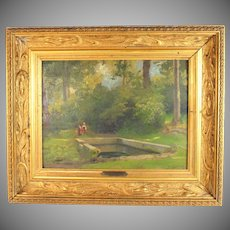 """Oil Painting titled """" Lavoir a  Chaville """" by French listed artist Charles August Corbineau (1835-1901)"""