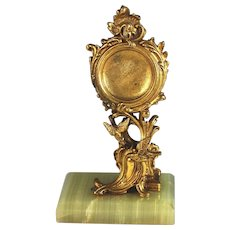 Antique French Bronze Dore Porte Montre Watch Stand with Birds