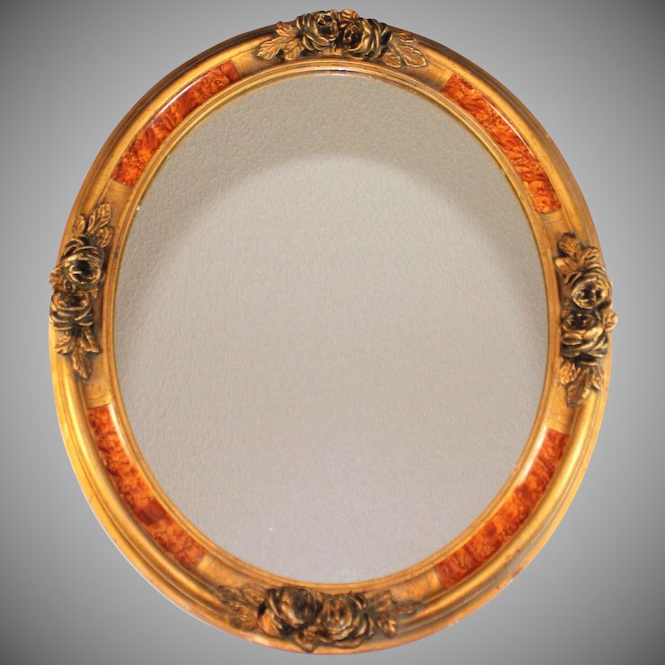 Vintage French Mirror With Faux Burl Wood Frame Gesso Flowers