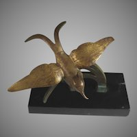 Modernist Bronze Sculpture of a Bird on a Branch