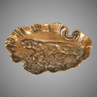 Antique Bronze Vide Poche Coin Dish Depicting a Tiger