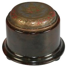 Antique Round Bakelite Box with Engraved Brass Lid