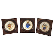 Three Antique Italian Heraldic Miniature Plates Hand Painted and Signed