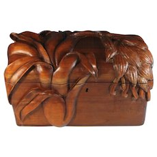 Massive Hand Carved Wood Document Box
