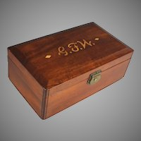 Antique French Inlaid Wood Box Monogram G F W (or N)