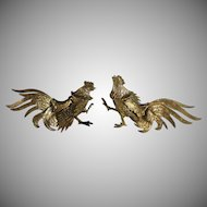 Vintage Pair of Small Brass Fighting Roosters Cocks