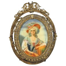 Hand Painted Miniature Portrait in Gilt Bronze Filigree Frame