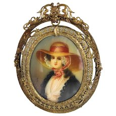 Hand Painted Miniature Portrait Gilt Bronze with Filigree Frame