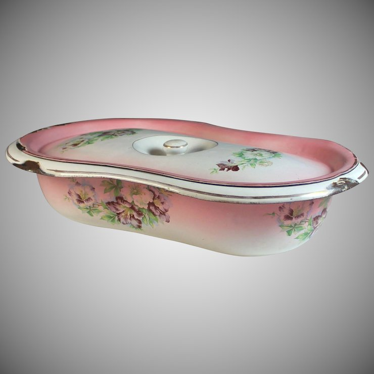 Antique French Enamelware Granite ware Baby Bath Pink with Flowers ...