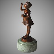 Bronze Sculpture of Girl Blowing Bubbles After Suzanne Bizard (1873 - 1963)