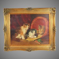 Oil  Painting of Three Kittens French School