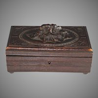 Antique Black Forest Dresser Box with Flowers