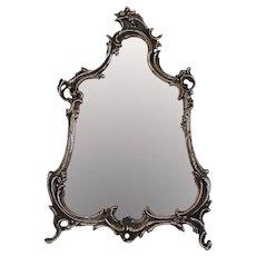 Antique Ornate Silver Plate Rococo Style Vanity Mirror