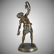 Bronze Sculpture of Man and a snake by Auguste Moreau (1834-1917)