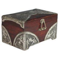 French Art Nouveau Wood Box with Hand Hammered Overlay