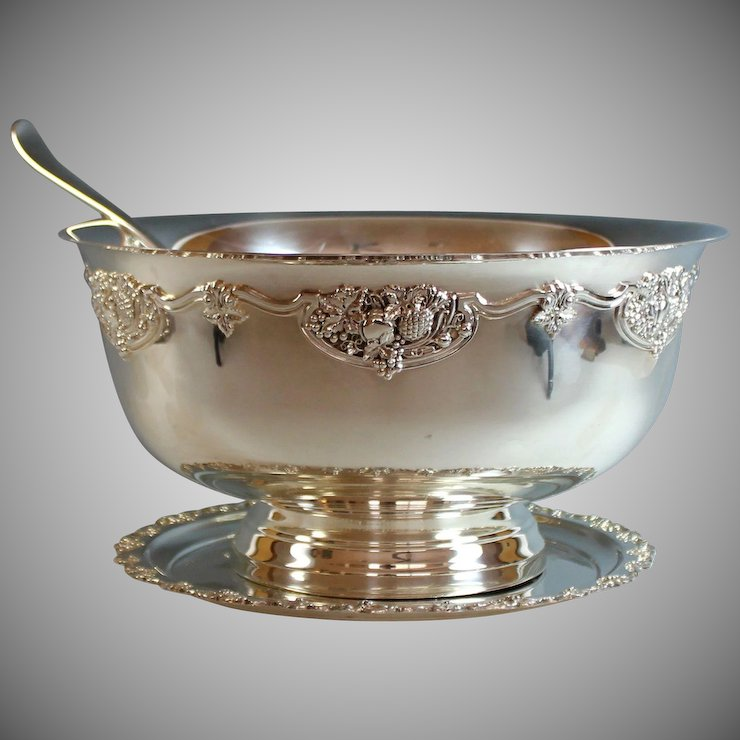 Extra Large Silverplate Punch Bowl With Ladle And Plate Silver