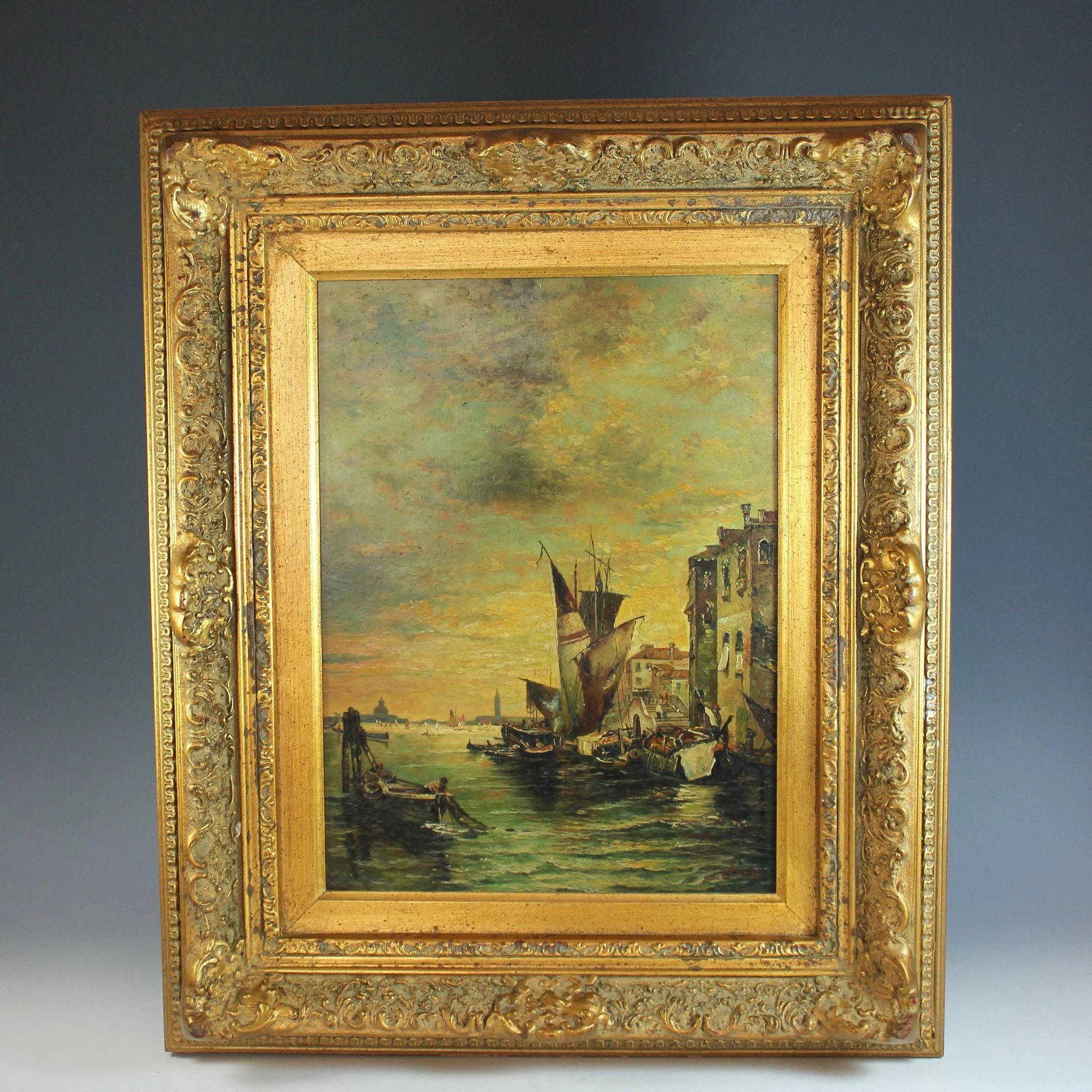 Oil Painting a View of Venice by British listed artist J. Clark ...