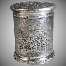 19th C Derby Silverplate Repousse Hand Hammered Biscuit Box Tavern Scenes Silver Plate