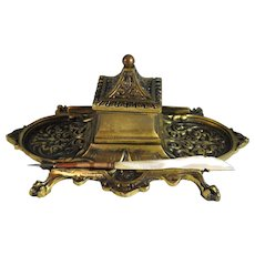 Vintage Bronze Ink well with Mother of Pearl Dip Pen Inkwell
