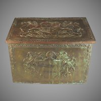 19th Century Embossed Copper Coal Kindling Box Chest C 1870