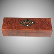 Antique Glove Box of Amboyna Wood with Brass Inlays and Silk Lining