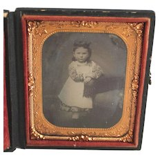 1/6 Plate Ambrotype Photo Portrait of a Charming Girl Ambro Type