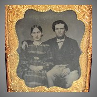 1/6 Plate Crisp Tintype Photo Portrait of a Handsome Couple Tin Type
