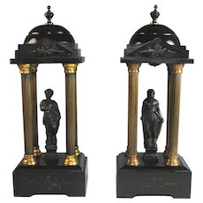 Pair Black Marble & Gilt Bronze Mounted Models of Neo Classical Temples