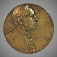 Bronze Medal of Cardinal De Mercier by Josue Dupon