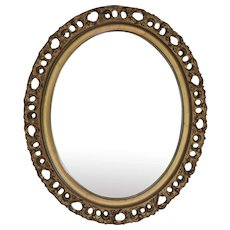 Antique Italian Gilt Wood Florentine Oval Mirror