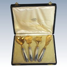 French Sterling Silver Vermeil Hors d'Oeuvres  Set Boxed